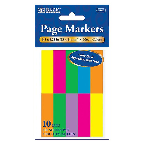 """100 Ct. 0.5"""" X 1.75"""" Neon Page Marker (10/Pack)"""