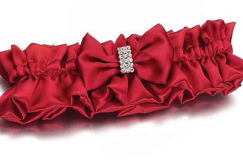 Wedding Garter Satin Red Rhinestones