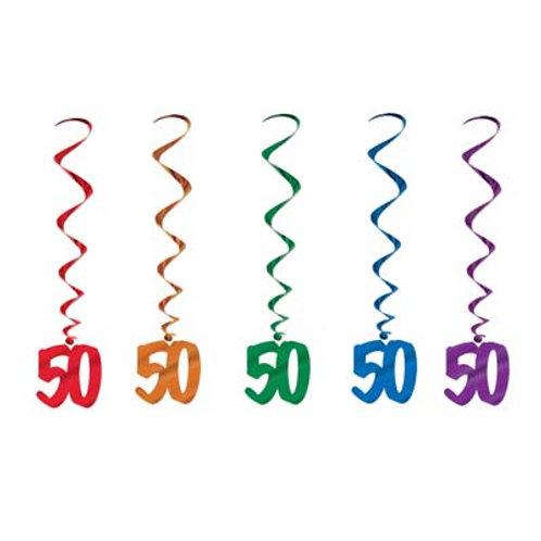 50th Birthday Hanging Swirls 5 Pc
