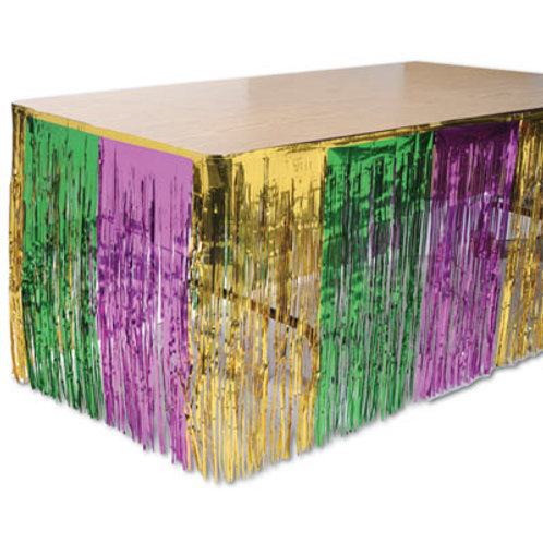 "Green, Gold and Purple Table Skirt 30""x14'"
