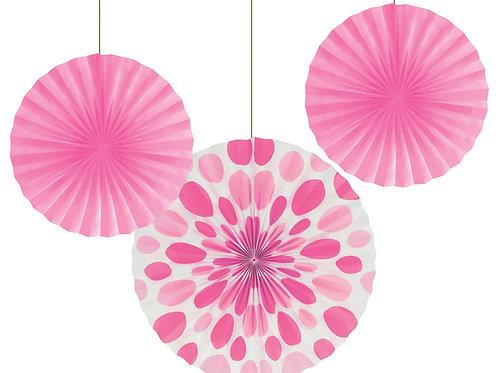 Fans Solid & Polka Dot Fan (3ct) Pink