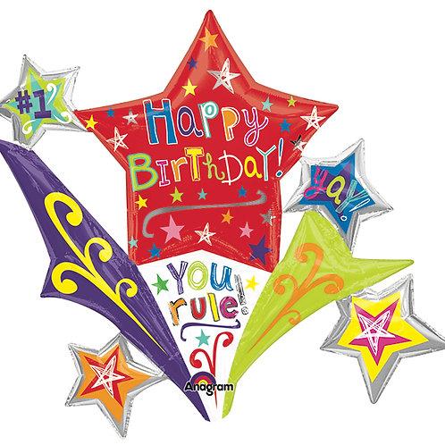 """Balloon Foil 37"""" Birthday Stars"""
