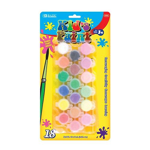 18 Color 6 mL Kid�s Paint w/ Brush