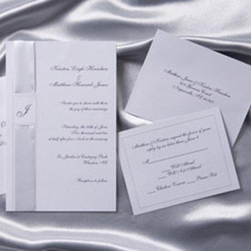 Invite Kit Monogram Ribbon White 25