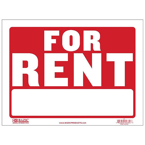 "9"" x 12"" For Rent Sign"