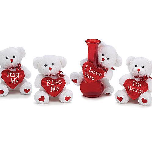 "Plush 5"" Valentine Bear White"