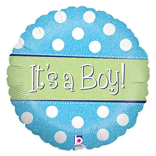 "Balloon Foil 18"" Spots Dots Boy"