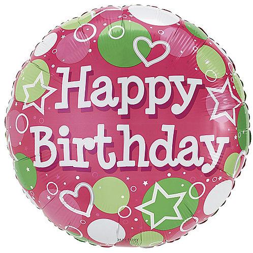 "Balloon 18"" Green Pink Happy Birthday"