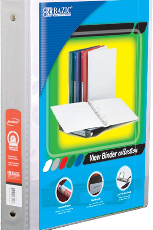 """1"""" White 3-Ring View Binder with 2 Pockets"""