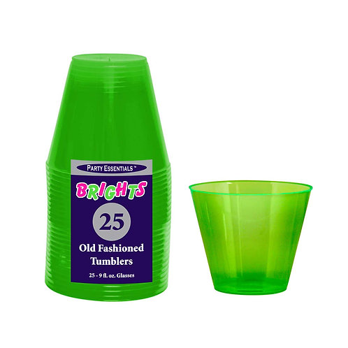 Tumblers - Neon Green 9Oz 25Ct