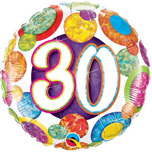 "Balloon 18"" Foil 30th Birthday"