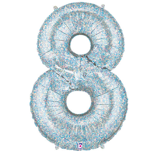 "Balloon Foil 40"" Number 8 Silver"