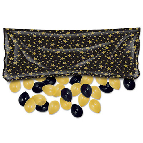 "Happy New Year Balloon Bag Black and Gold 36""x80"""