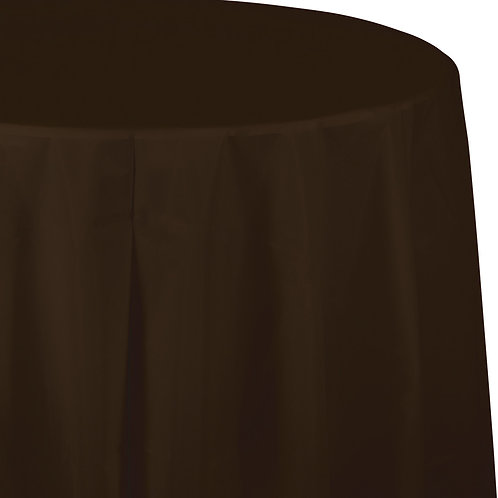 "Chocolate Brown Tablecover 82"" Octy  Rnd"