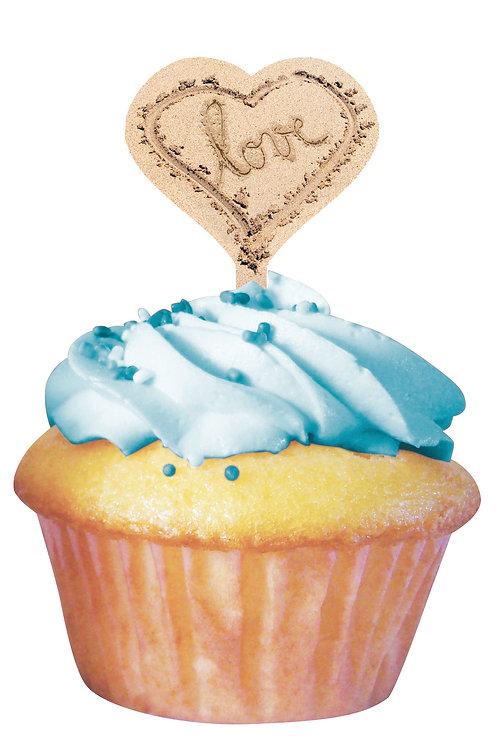 Beach Love Cupcake Wrapper w/ Picks (12ct)