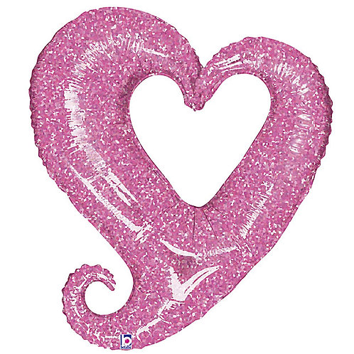 """Balloon Foil 37"""" Hearts Pink"""