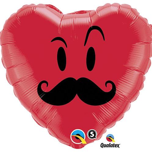 """Balloon 18"""" Mustache Heart"""