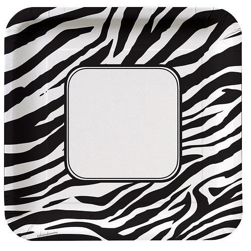 "Animal Print Zebra Banquet Plate 10"" (8Ct) Sq"