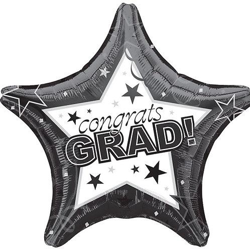 """Balloon 19"""" Congrats Grad Black"""
