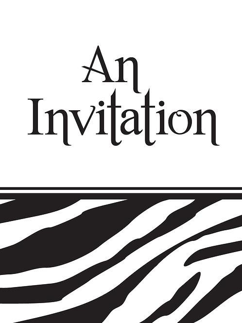 Animal Print Zebra Invitation (8Ct)