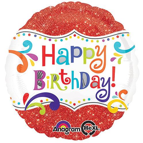 "Balloon Foil 17"" Happy Birthday Spark"
