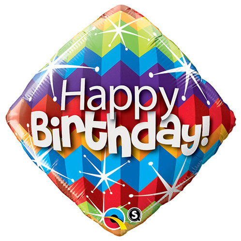 "Balloon Foil 18"" Happy Birthday Zig Zag"