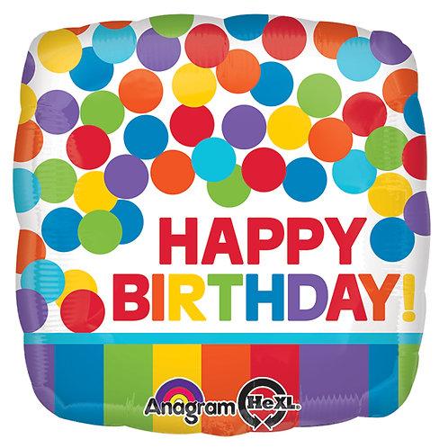 "Balloon Foil 17"" Happy Birthday Primary"