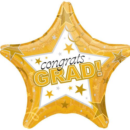 """Balloon 19"""" Congrats Grad Gold"""
