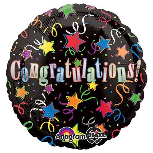 """Balloon Foil 18"""" Congrats Black"""