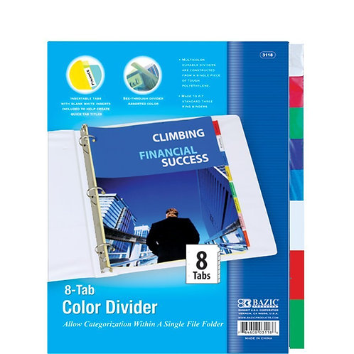 3-Ring Binder Dividers with 8-Insertable Color Tabs