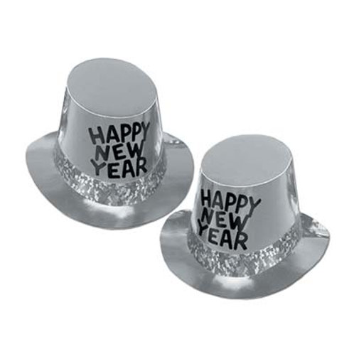 Black and Silver Happy New Year Topper Hat