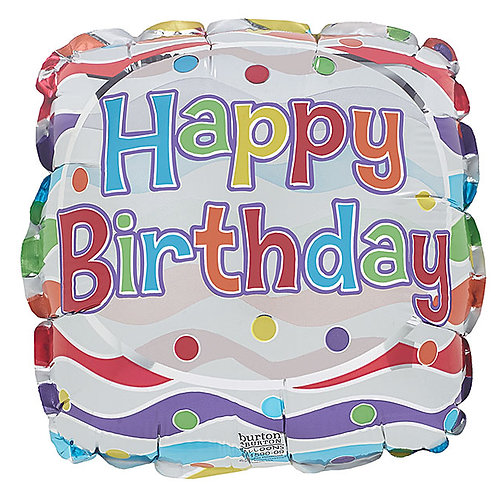 "Balloon Foil 9"" Happy Birthday Party Square"