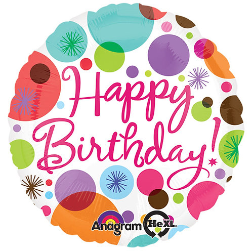 "Balloon Foil 18"" Happy Birthday Polka Dot"