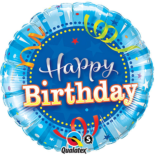 "Balloon Foil 18""Happy Birthday Stream Stars"