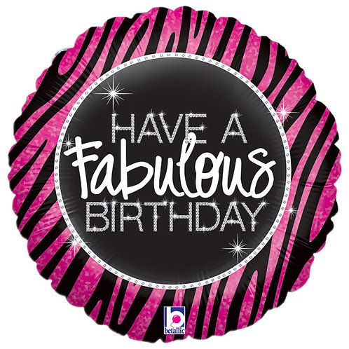 "Balloon Foil 18"" Fabulous Birthday Zebra"