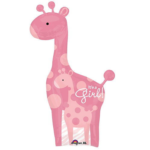 "Balloon 42"" Girl Giraffe Pnk"