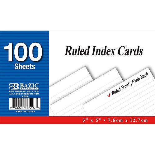 Index Card White 100 Count