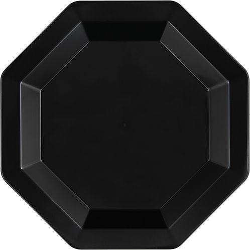 "Black Octagon Plastic Plate 10.25"" (8Ct) Black"