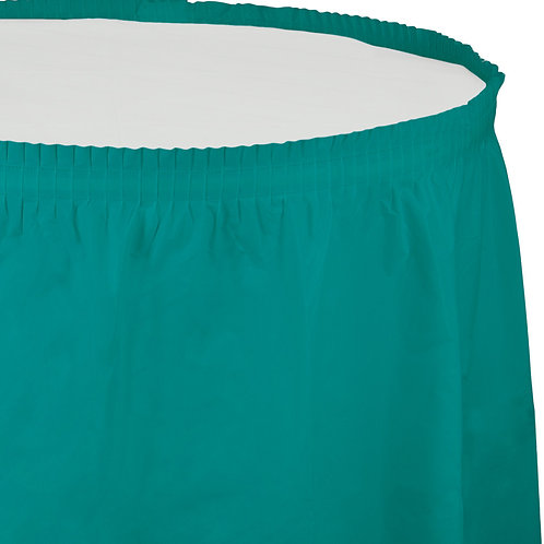 """Tropical Teal Tableskirt  14'X29"""""""