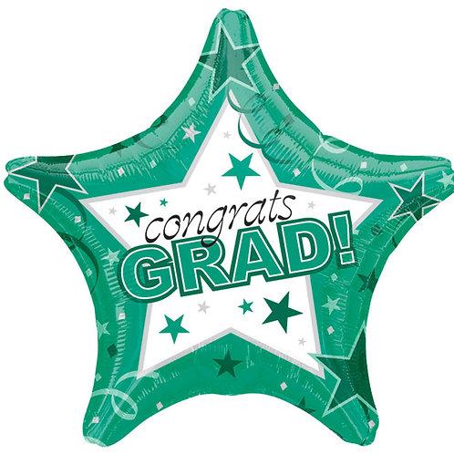 """Balloon 19"""" Congrats Grad Green"""