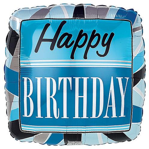 "Balloon Foil 18"" Happy Birthday Black & Blue"