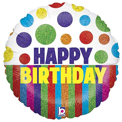 """Balloon 18"""" Happy Birthday Dots Stripes"""