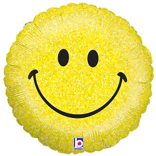 """Balloon Foil 18"""" Smiley Holographic"""