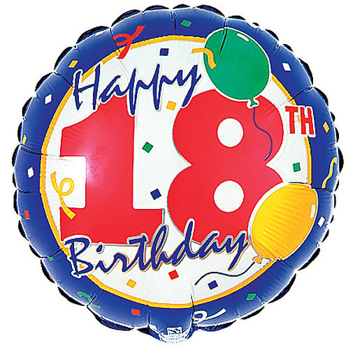 "Balloon Foil 18"" Happy Birthday 18 Confetti"