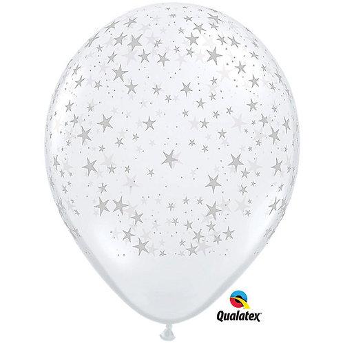 "Balloon Latex 18"" Stars Clear 5C"