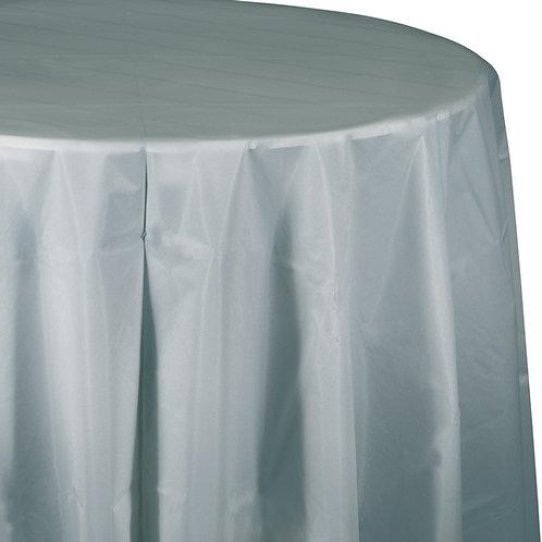 "Silver Shimmering Tablecover 82"" Octy  Rnd"