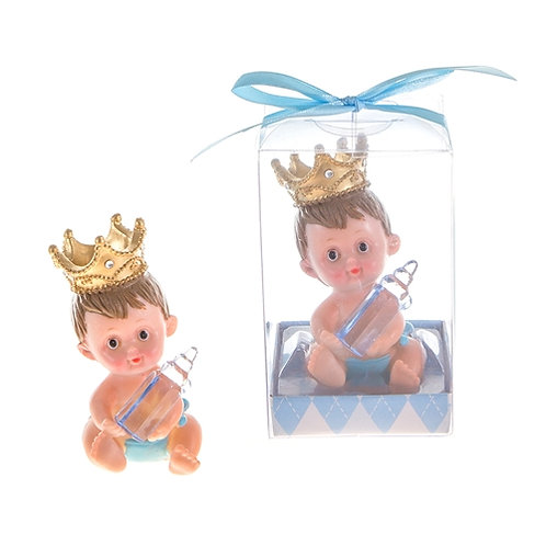Favor Baby With Crown Bottle Blue
