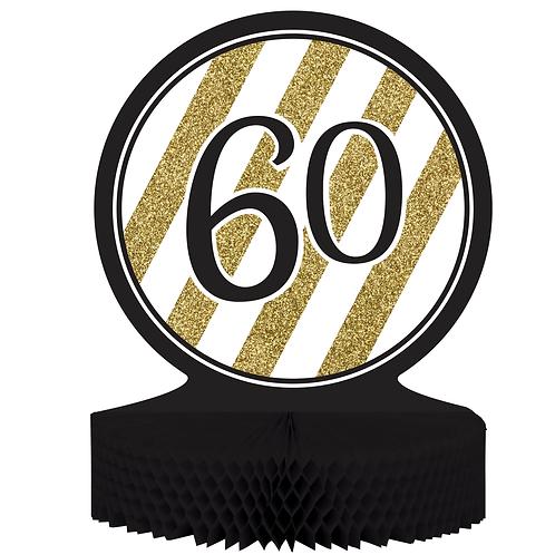 Black & Gold Birthday Centerpiece - 60Th Birthday