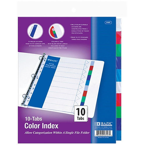 3-Ring Binder Dividers with 10 Color Tabs