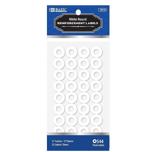 White Round Reinforcement Label (544/Pack)